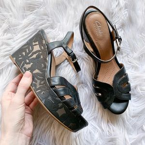 Clarks Amelia Page Leather Floral Wedge Sandals
